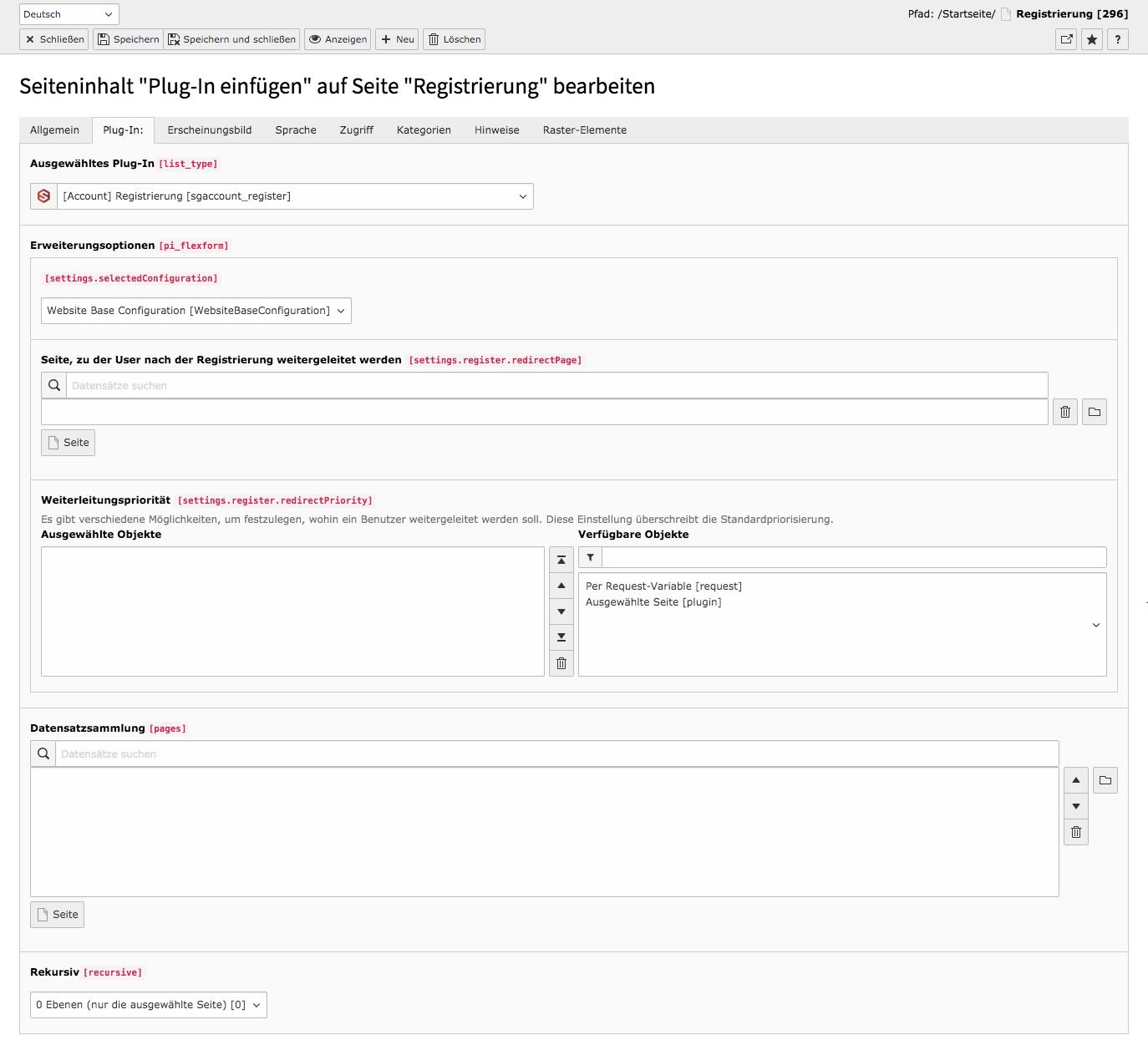 TYPO3 Account Inhaltselement Registrierung Backend Reiter Plug-In