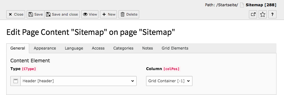 TYPO3 Content Element Proporties Tabs & Buttons