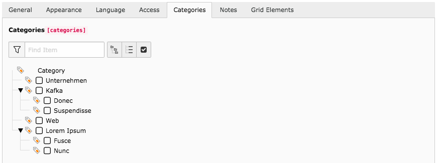 TYPO3 Content Elements Tab Categories