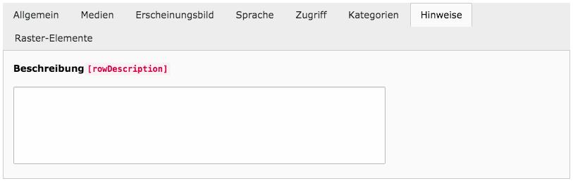 TYPO3 Inhaltselement bearbeiten Reiter Hinweise