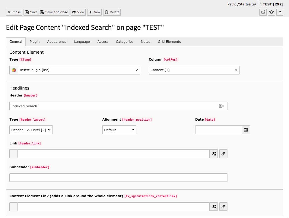 TYPO3 Content Element Form elements Indexed Search Backend Tab General
