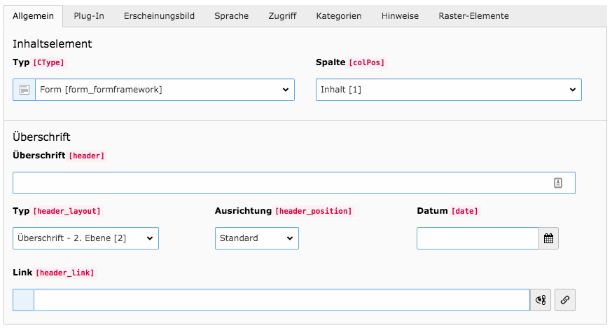 TYPO3 Inhaltselement Formular Reiter Allgemein