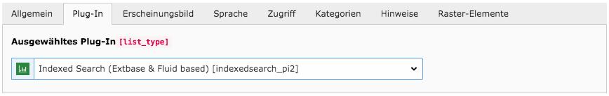 TYPO3 Inhaltselement Indexsuche Plugin Tab Plug-In