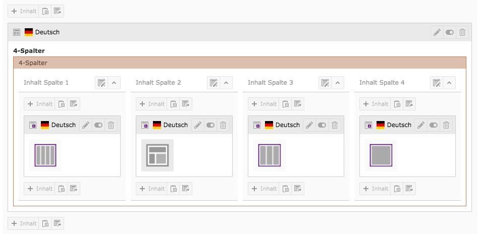 TYPO3 4-Spalter befüllt mit Inhaltselementen