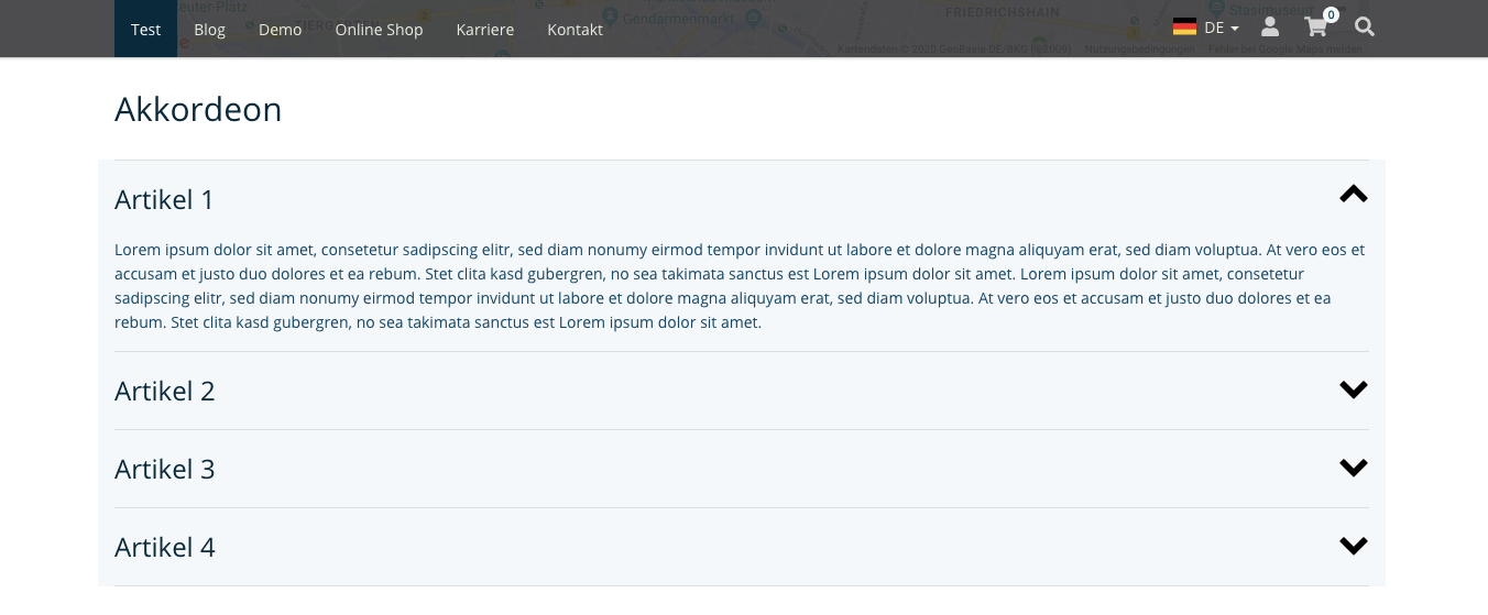 TYPO3 Mask Element Akkordeon Frontend