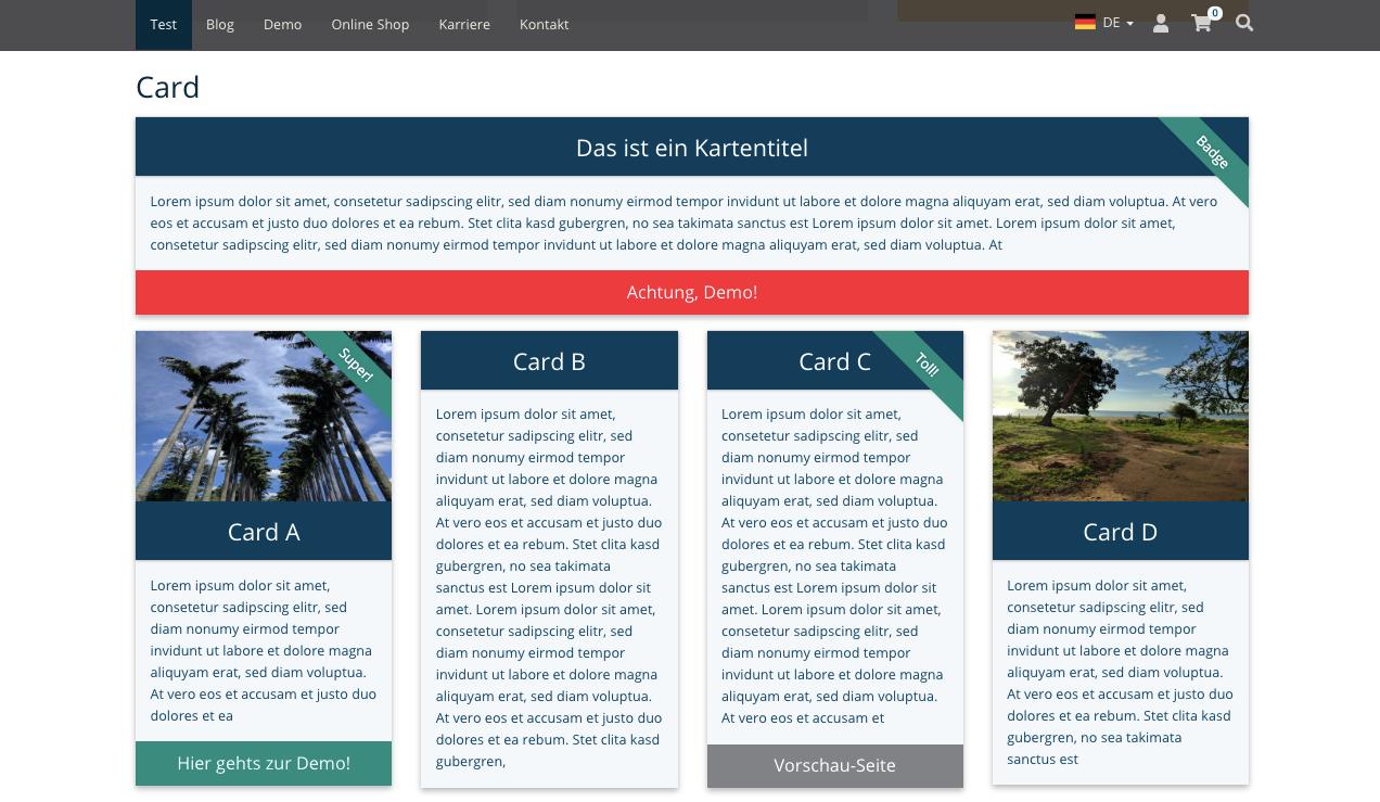 TYPO3 Inhaltselement Mask Elements Card Frontend