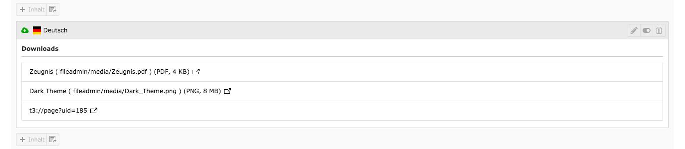 TYPO3 Inhaltselement Mask Elements Downloads Backend Inhaltsbereich