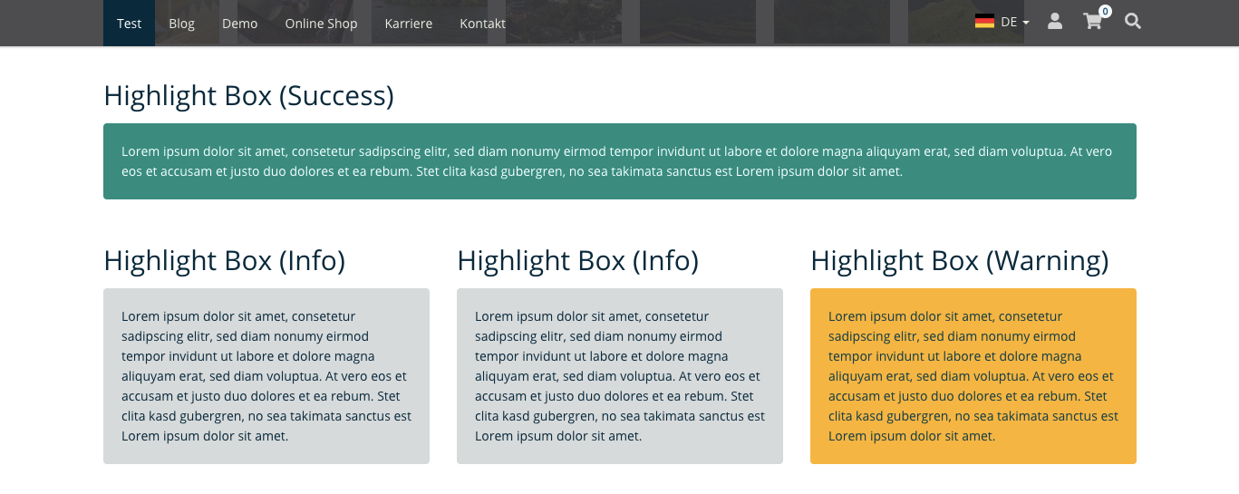 TYPO3 Mask Element Highlight Box Frontend