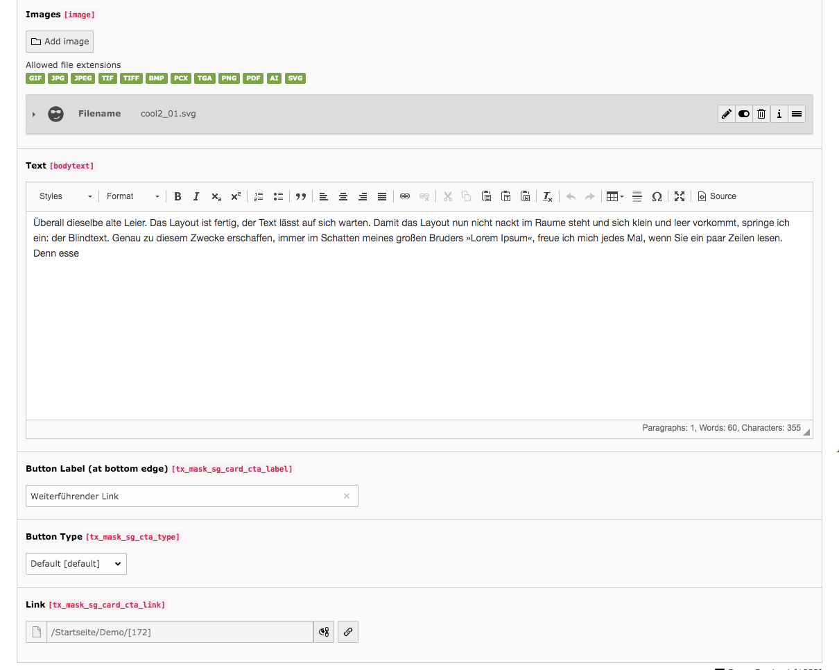 TYPO3 Content Element Mask Element Card Backend Tab General