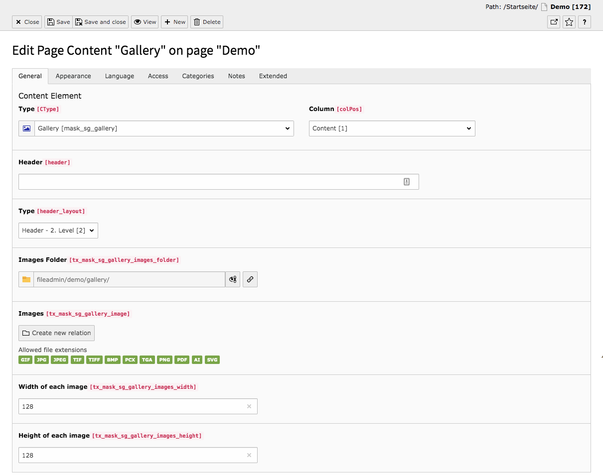 TYPO3 Content Element Mask Element Gallery Backend Tab General