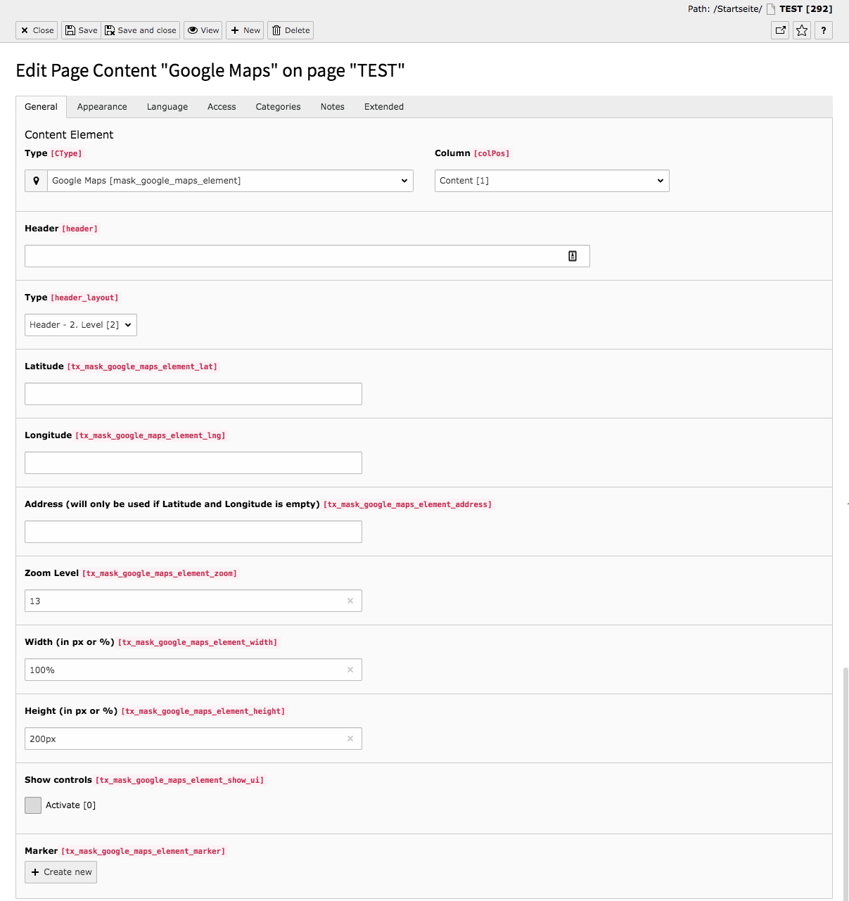 TYPO3 Mask Elements Google Maps Backend Tab General