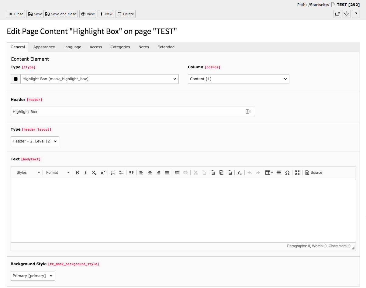 TYPO3 Content Element Mask Element Highlight Box Backend Tab General