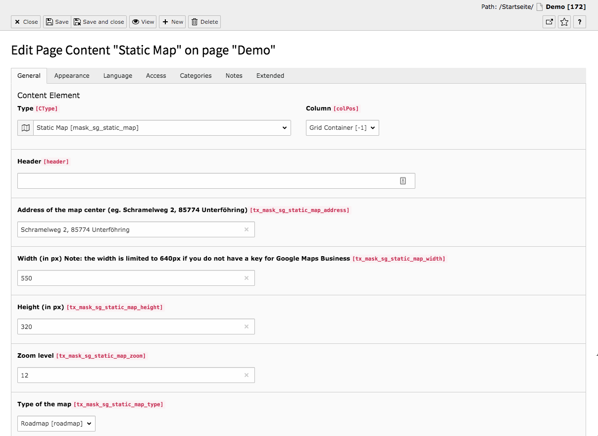 TYPO3 Content Element Mask Element Static Map Backend Tab General