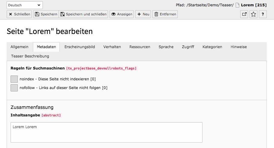 TYPO3 Seiteneigenschaften Metadaten