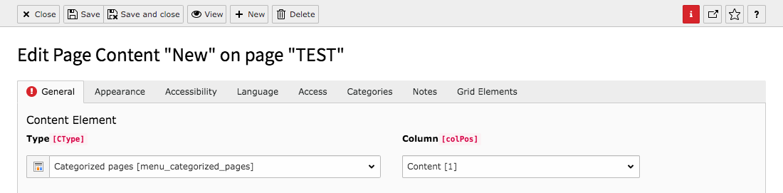 TYPO3 Content Element Menu Categorized Pages Backend Warning