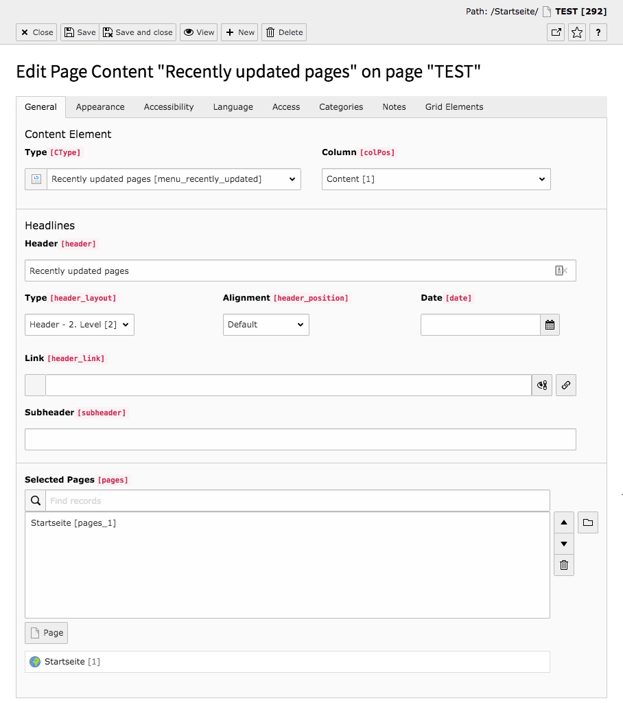 TYPO3 Content Element Menu Recently updated pages Backend Tab General