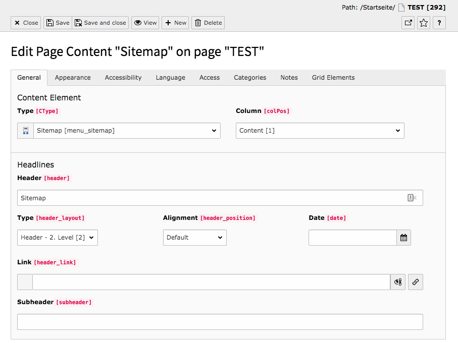 TYPO3 Content Element Menu Sitemap Backend Tab General