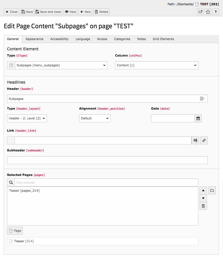 TYPO3 Content Element Menu Subpages Backend Tab General