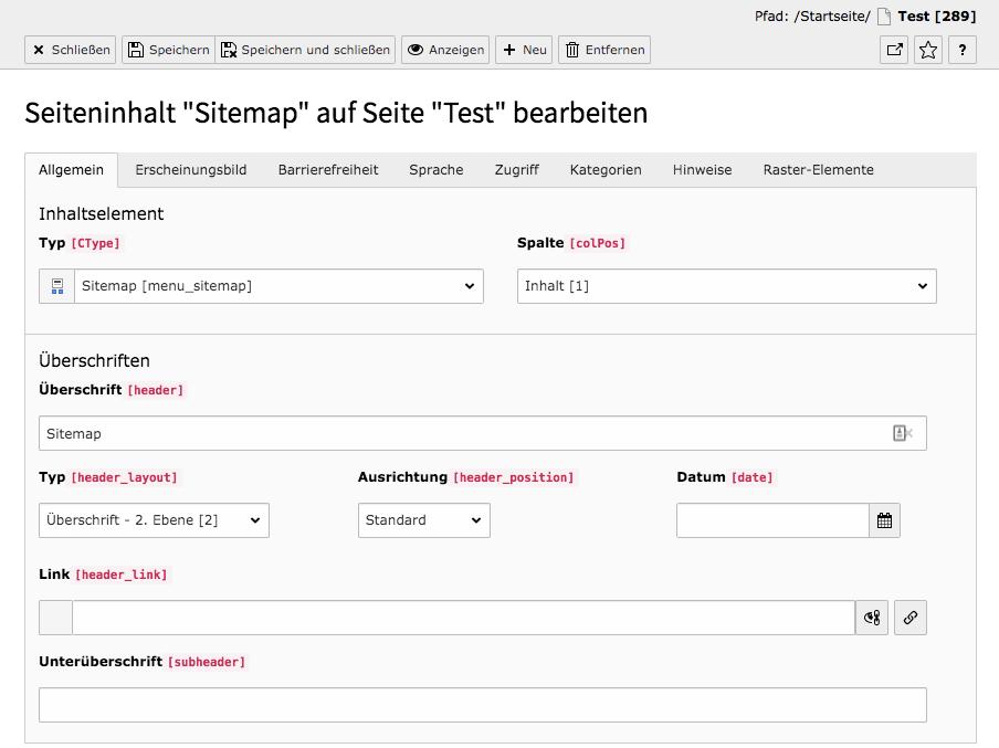 TYPO3 Inhaltselement Sitemap Reiter Allgemein