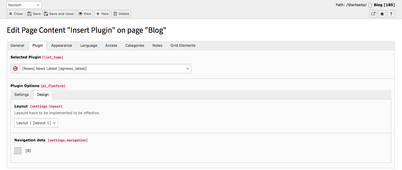 TYPO3 Content Element Latest News Backend Tab Plugin Subtab Design