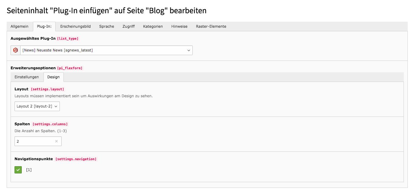 TYPO3 Inhaltselement Neueste News Backend Reiter Plug-In Unterreiter Design