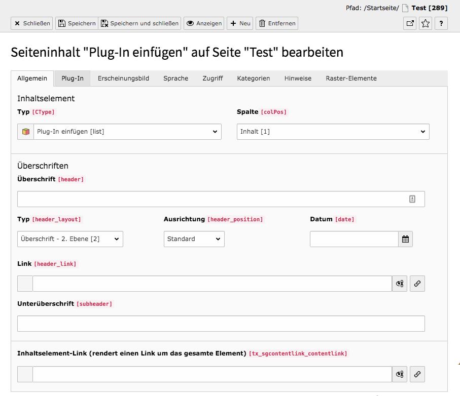 TYPO3 Bewerbungsformular Tab Allgemein