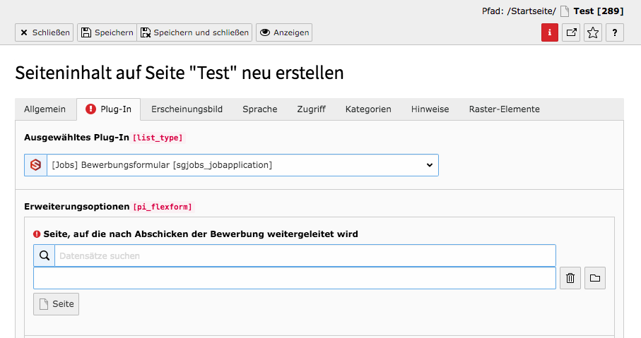 TYPO3 Bewerbungsformular Reiter Plug-In Warnung