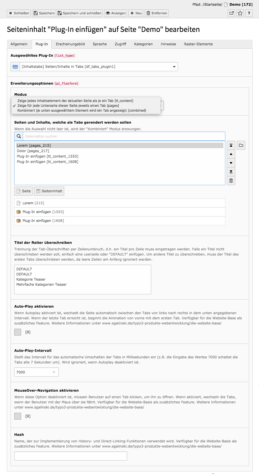 TYPO3 Inhaltselement Seiten/Inhalte in Tabs Reiter Plug-In