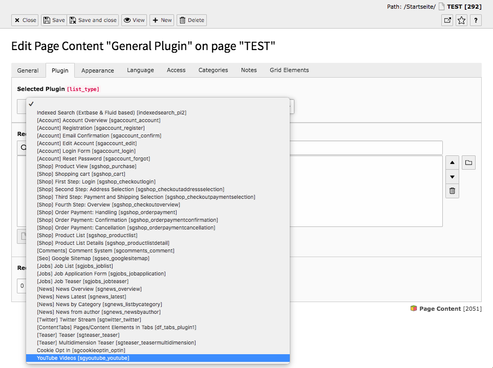 TYPO3 Content Element Plugins General Plugin Backend Tab Plugin