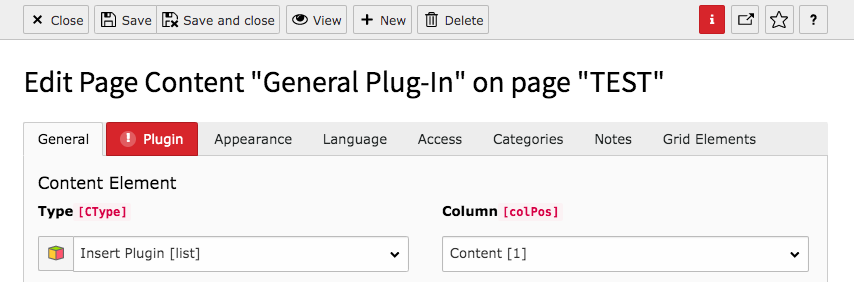 TYPO3 Content Element Plugins General Plugin Backend Tab General Warning