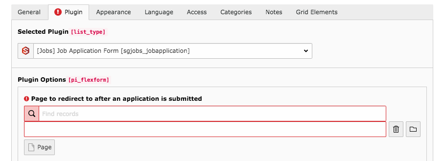 TYPO3 Content Element Plugins Job Application Form Backend Tab Plugin Warning