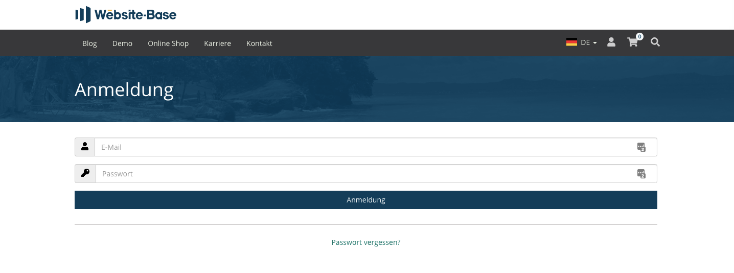TYPO3 Content Element Account Login Frontend