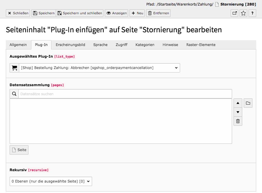 TYPO3 Inhaltselement Shop Order Payment Abbrechen Reiter Plug-In