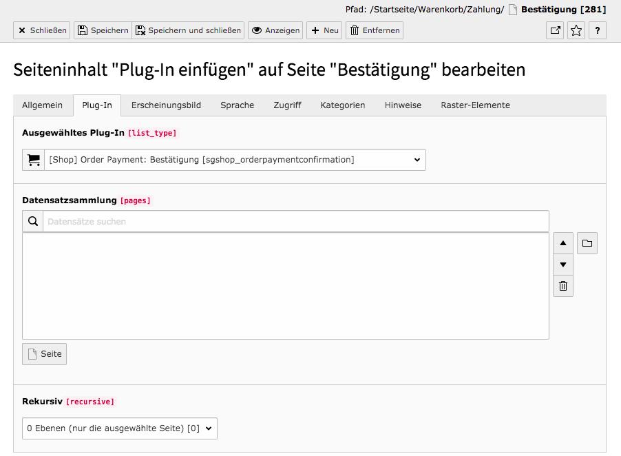 TYPO3 Inhaltselement Shop Auftragszahlung Bestätigung Reiter Plug-In