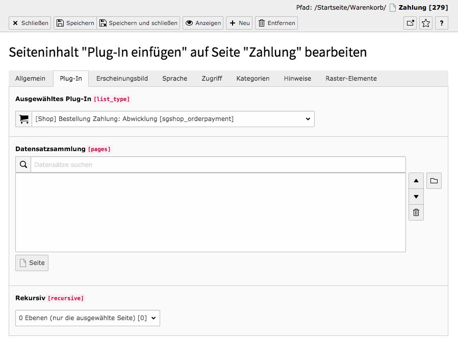 TYPO3 Inhaltselement Shop Auftragszahlung Abwicklung Reiter Plug-In
