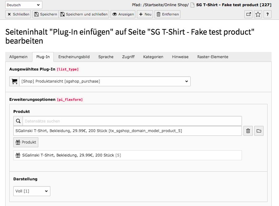 TYPO3 Inhaltselement Shop Produktansicht Reiter Plug-In