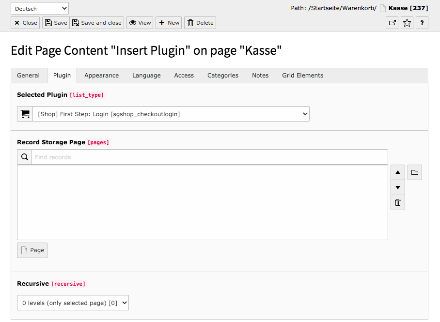 TYPO3 Content Element Shop First Step: Login Backend Tab Plugin