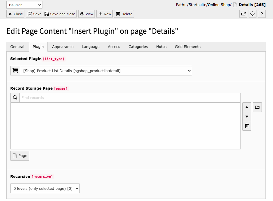 TYPO3 Content Element Shop Product List Single View Backend Tab Plugin