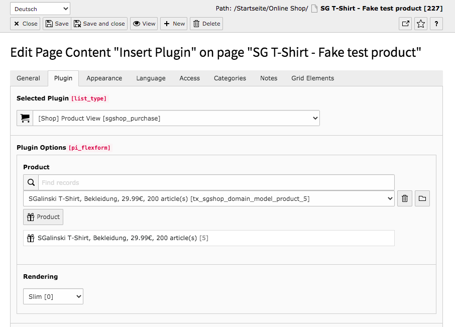 TYPO3 Content Element Shop Product View Backend Tab Plugin