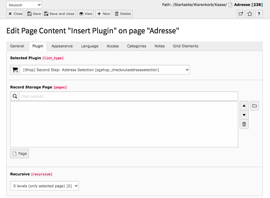 TYPO3 Content Element Shop Second Step Address selection Tab Plugin