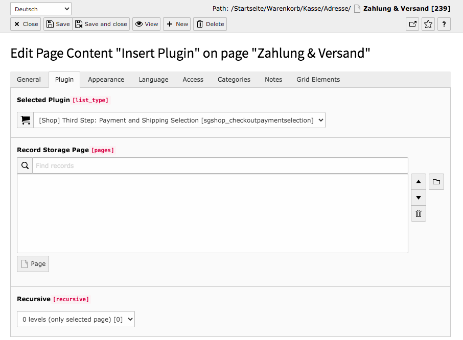 TYPO3 Content Element Shop Third Step: Payment & Shipping selection Backend Tab Plugin