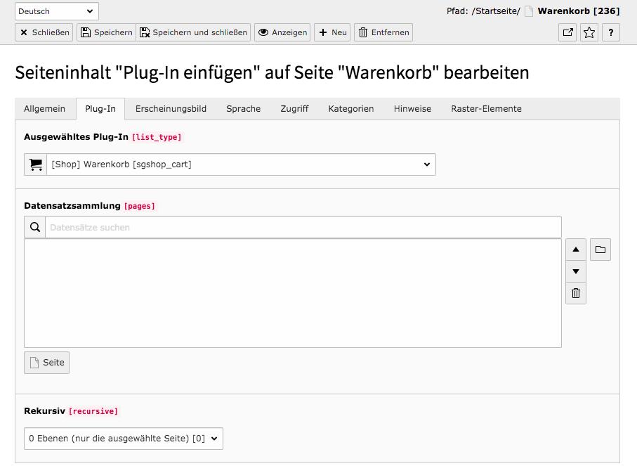 TYPO3 Inhaltselement Shop Warenkorb Reiter Plug-In