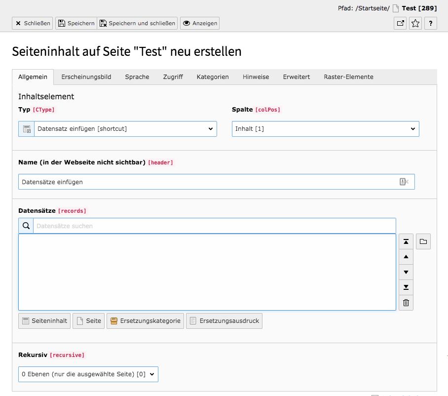 TYPO3 Besondere Inhaltselemente Datensätze einfügen Reiter Allgemein