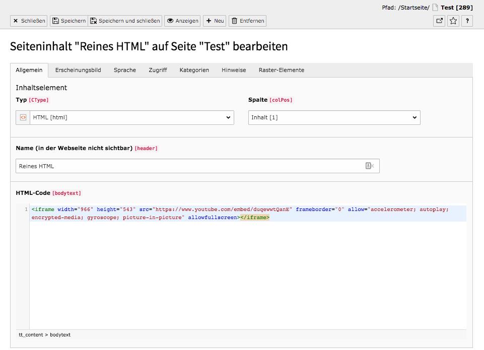 TYPO3 Inhaltselement Reines HTML Reiter Allgemein