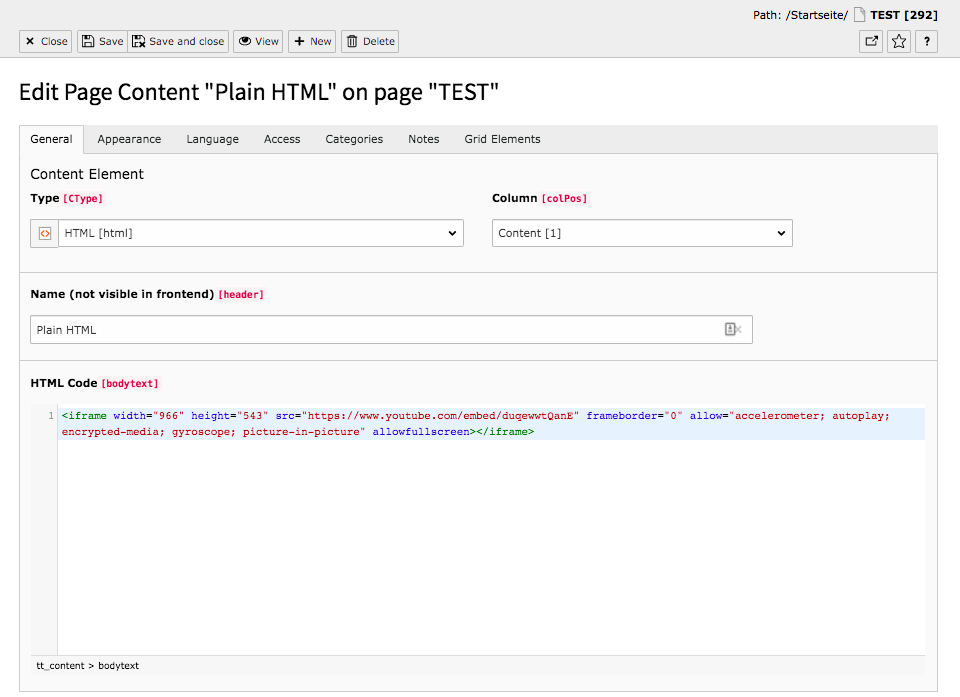 TYPO3 Content Element Special Element Plain HTML Backend Tab General
