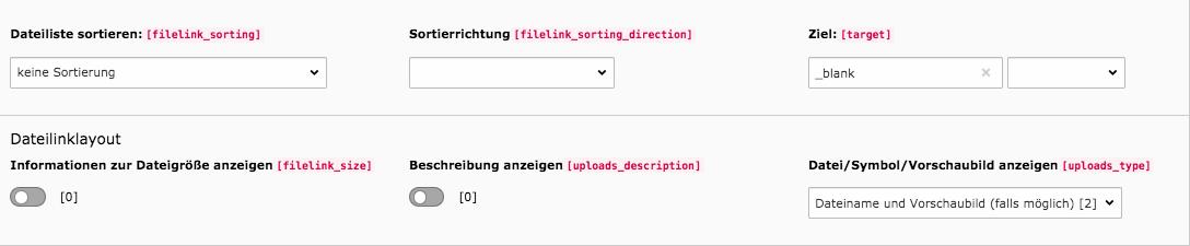 TYPO3 Dateisammlung Weitere Einstellungen