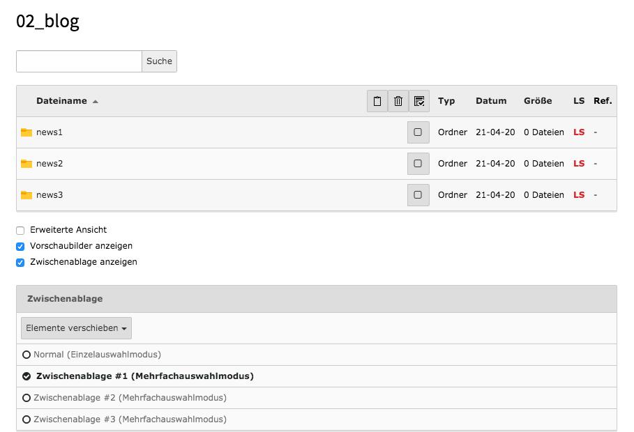 TYPO3 Modul Dateiliste Zwischenablage anzeigen Mehrfachauswahlmodus Ordner