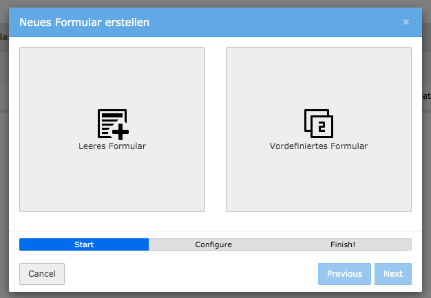 TYPO3 Modul Forms New Form erstellen Options
