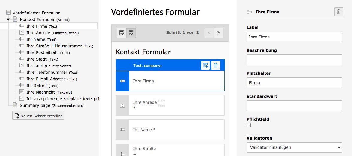 TYPO3 Modul Formulare Formular-Element bearbeiten