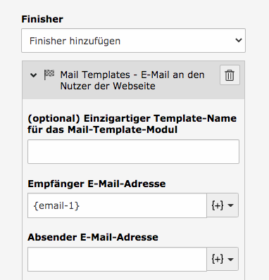 TYPO3 Modul Formulare Finisher Mail Templates Gültiges Form-Element